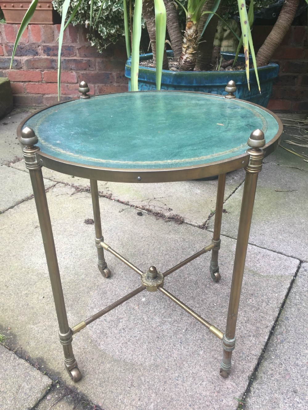 early c20th brassframed and leathertop circular occasional or lamp table