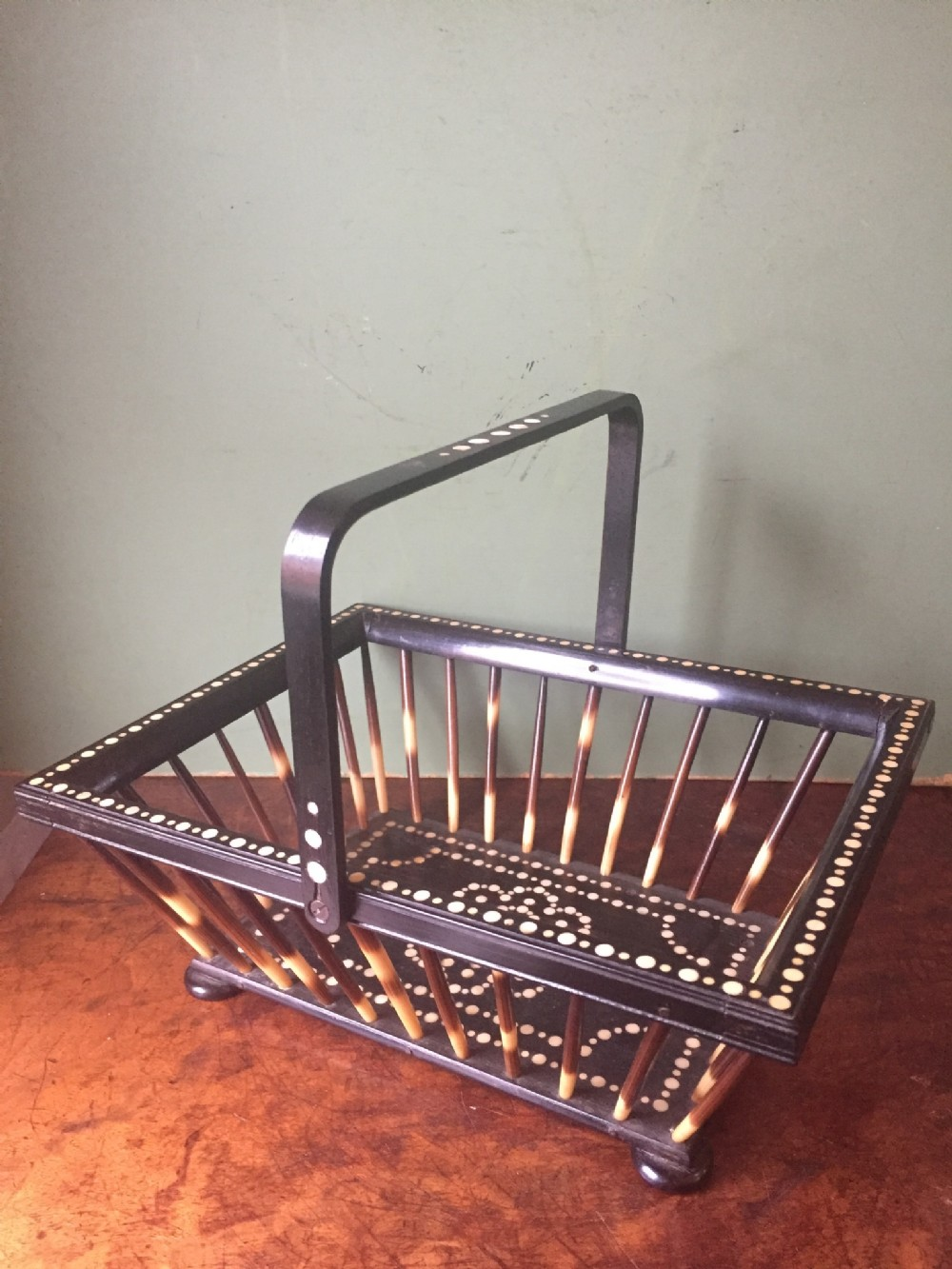 late c19th ceylonese porcupine quill ebony and boneinlaid basket