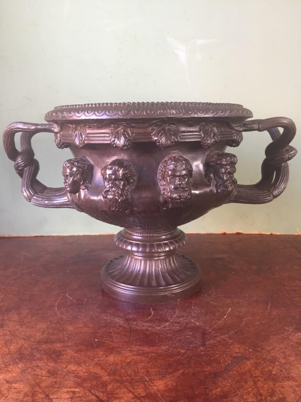 c19th 'grand tour' souvenir bronze reduction of the albani vase after the antique original