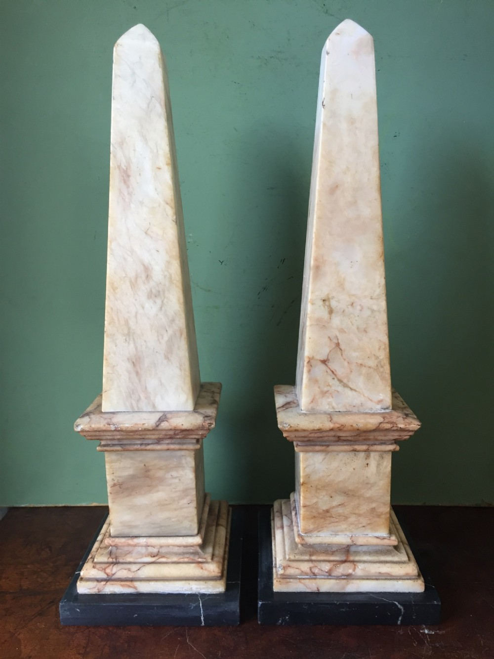 fine pair of rare early c19th regency period english alabaster obelisks