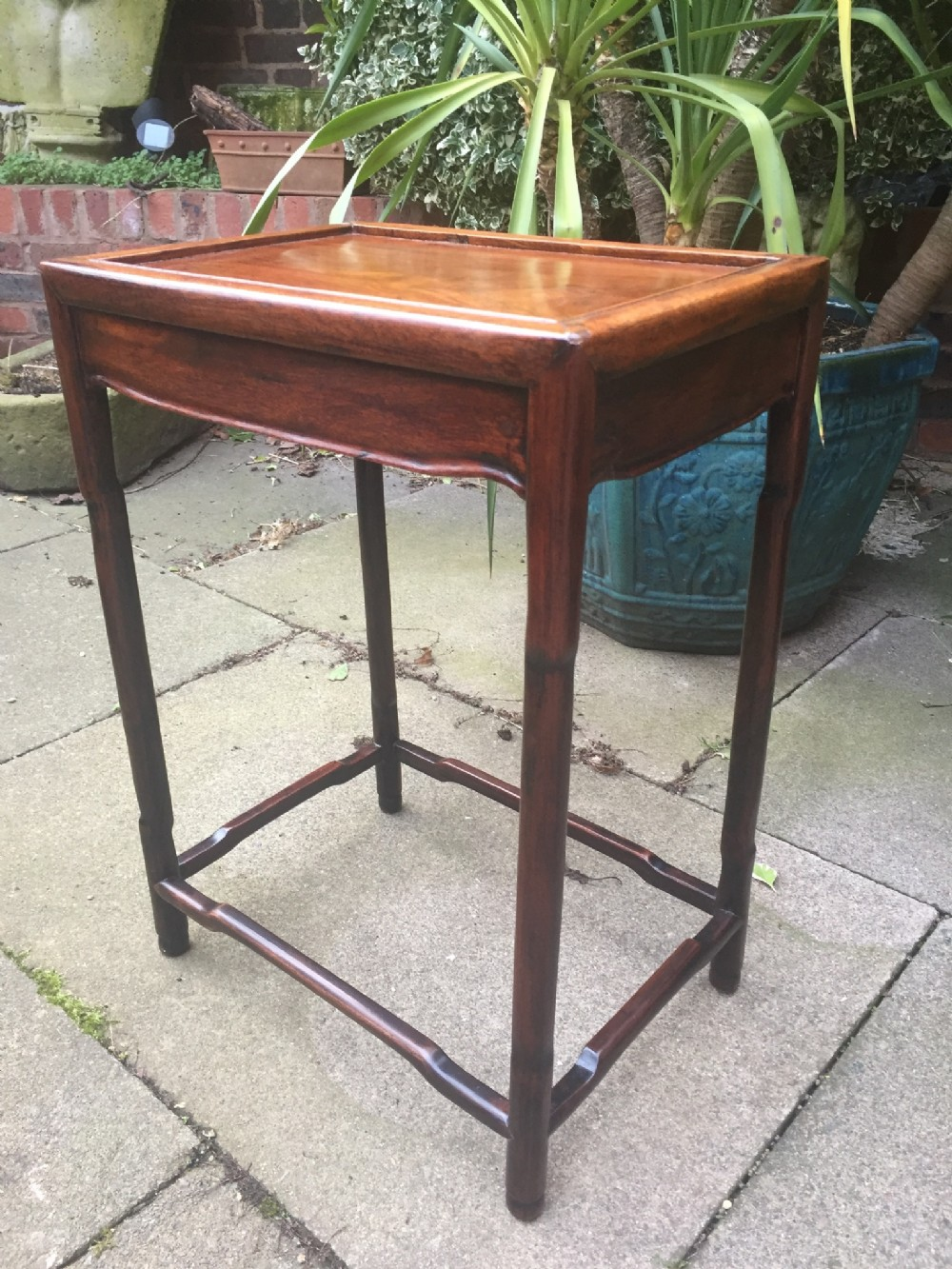 c19th chinese qing dynasty rectangular hardwood lamp or occasional table