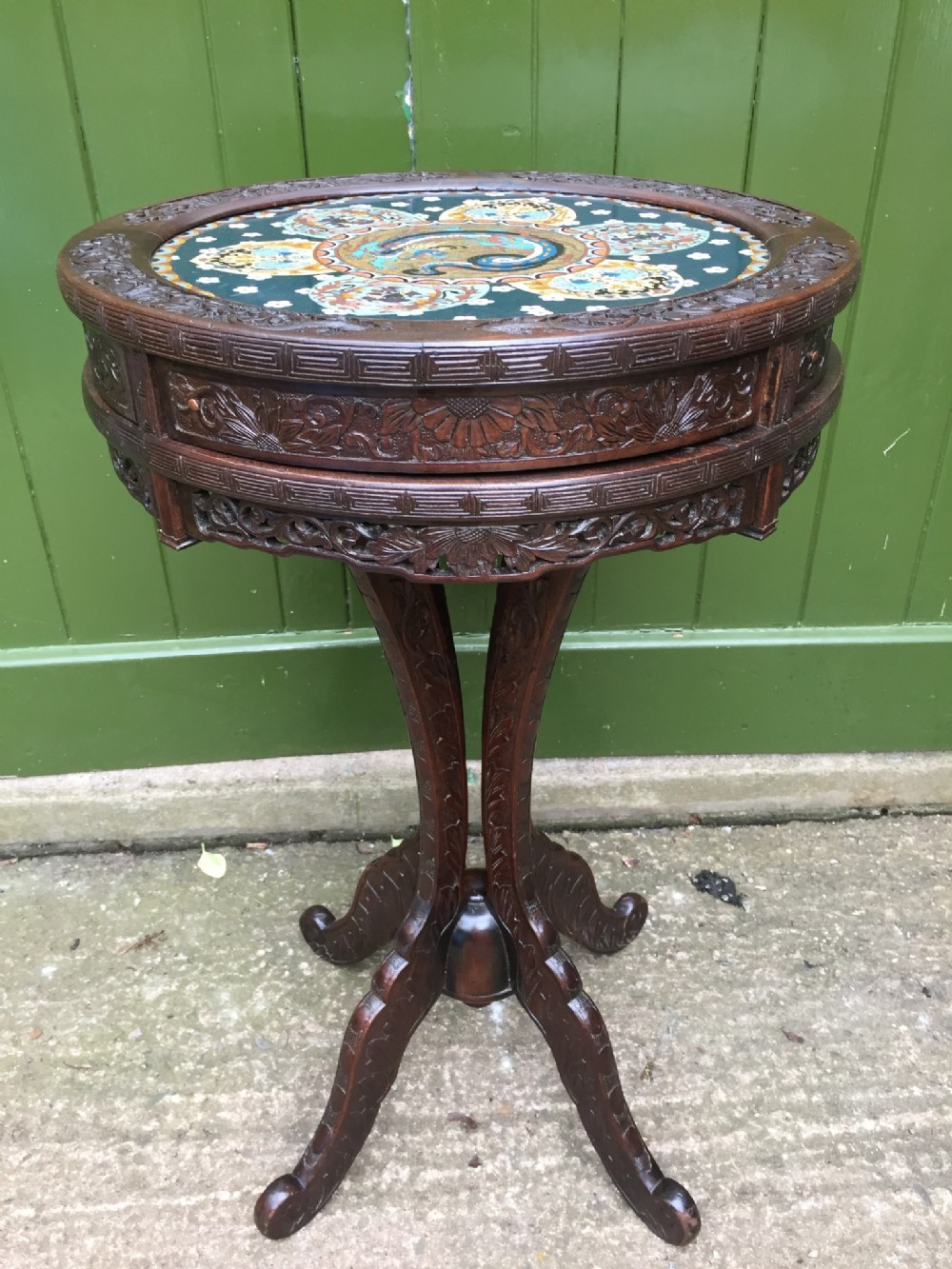 late c19th japanese carved centre or 'drum' type table with inset cloisonn enamel panel top