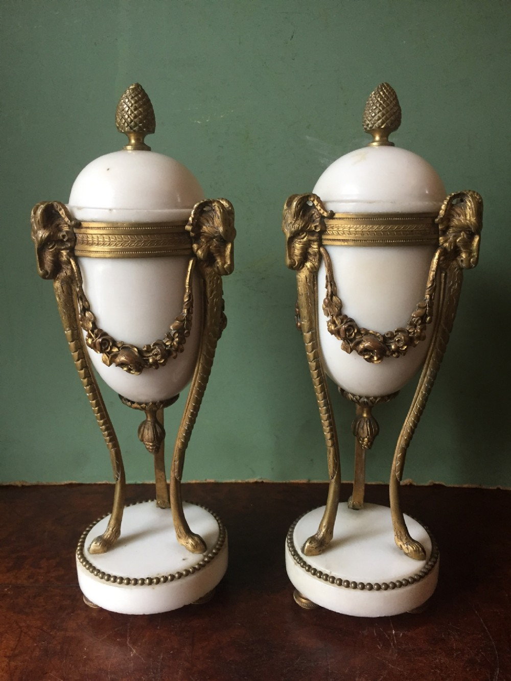 smart pair of late c19th french marble and ormolu bronze cassolettes of neoclassical design