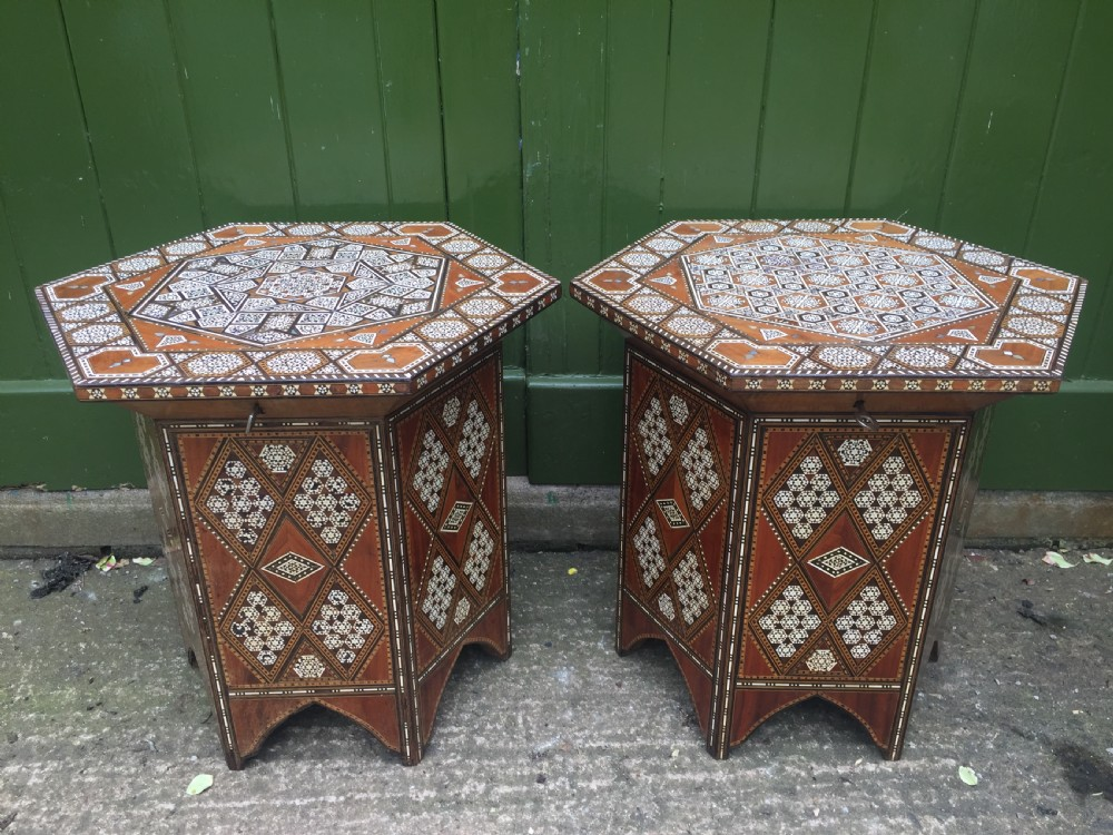 pair of late c19th syrian inlaid octagonal tables with rising tops