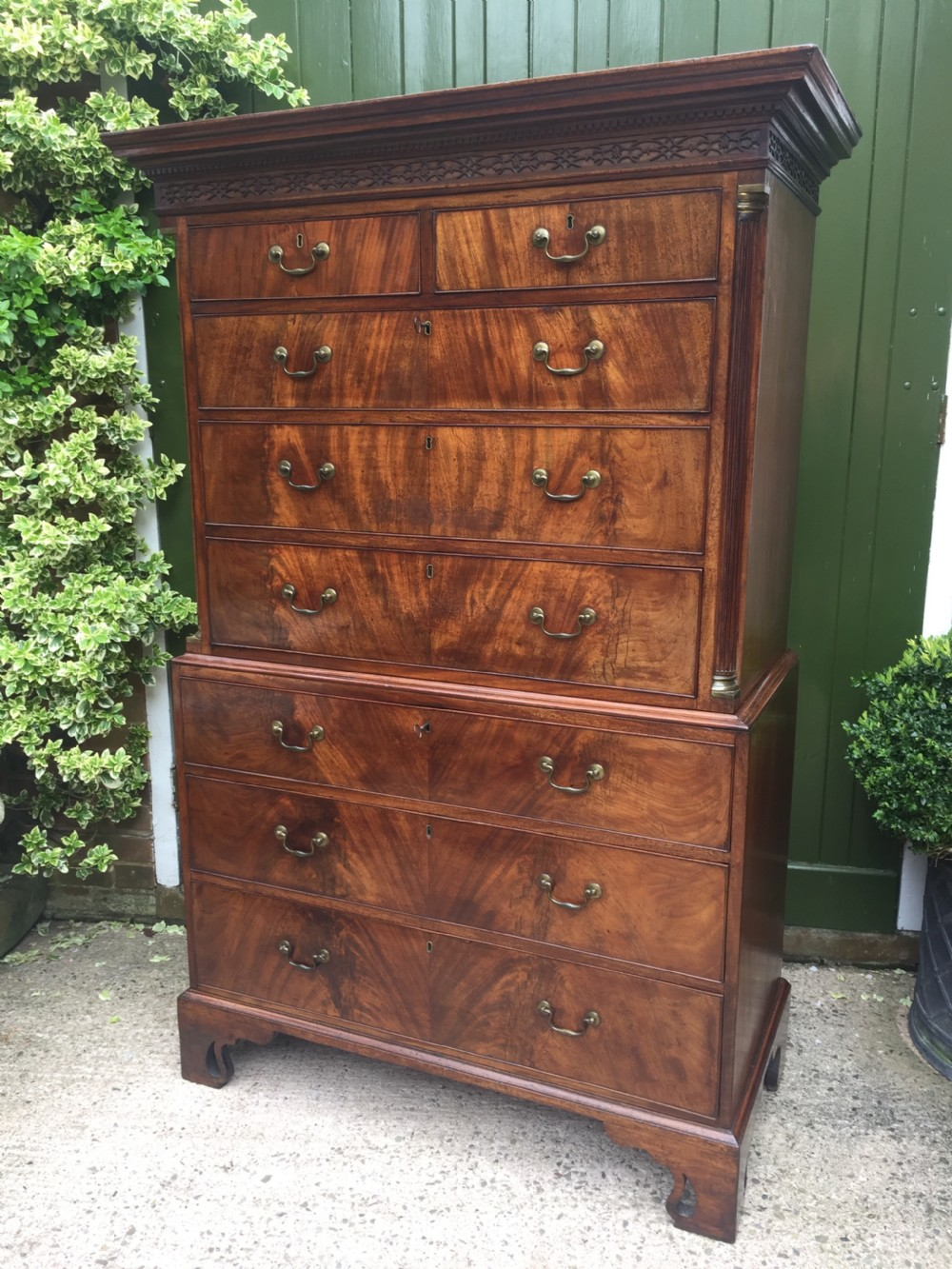 c18th george iii chippendale period mahogany chestonchest or tallboy of excellent quality