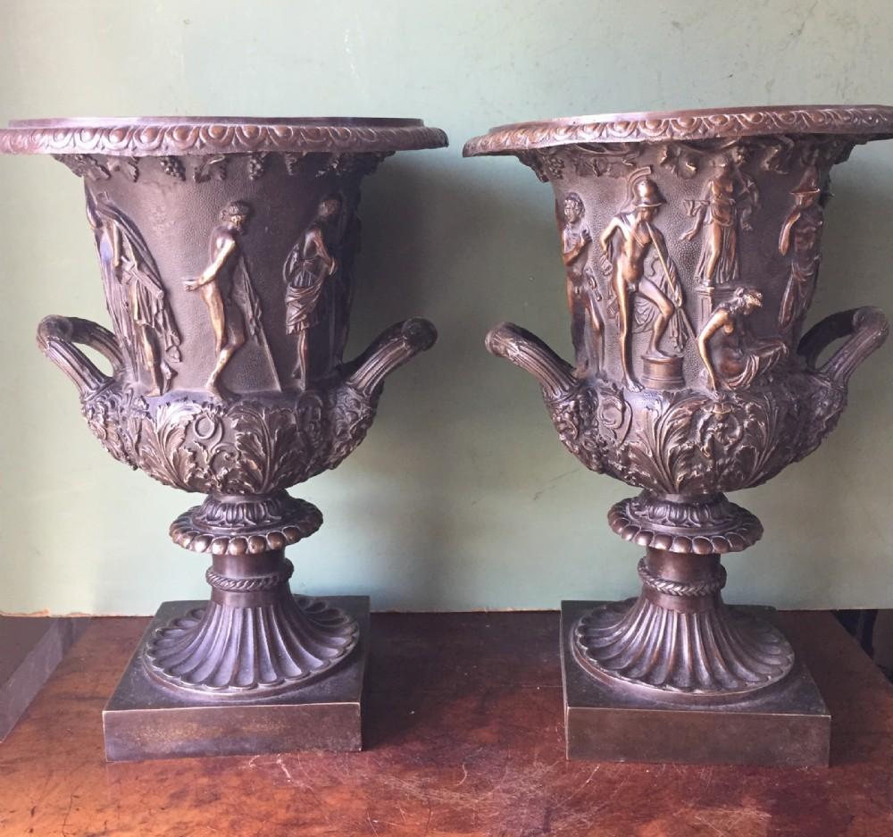 pair of late c19th french bronze 'grand tour' souvenir reductions of the medici vase