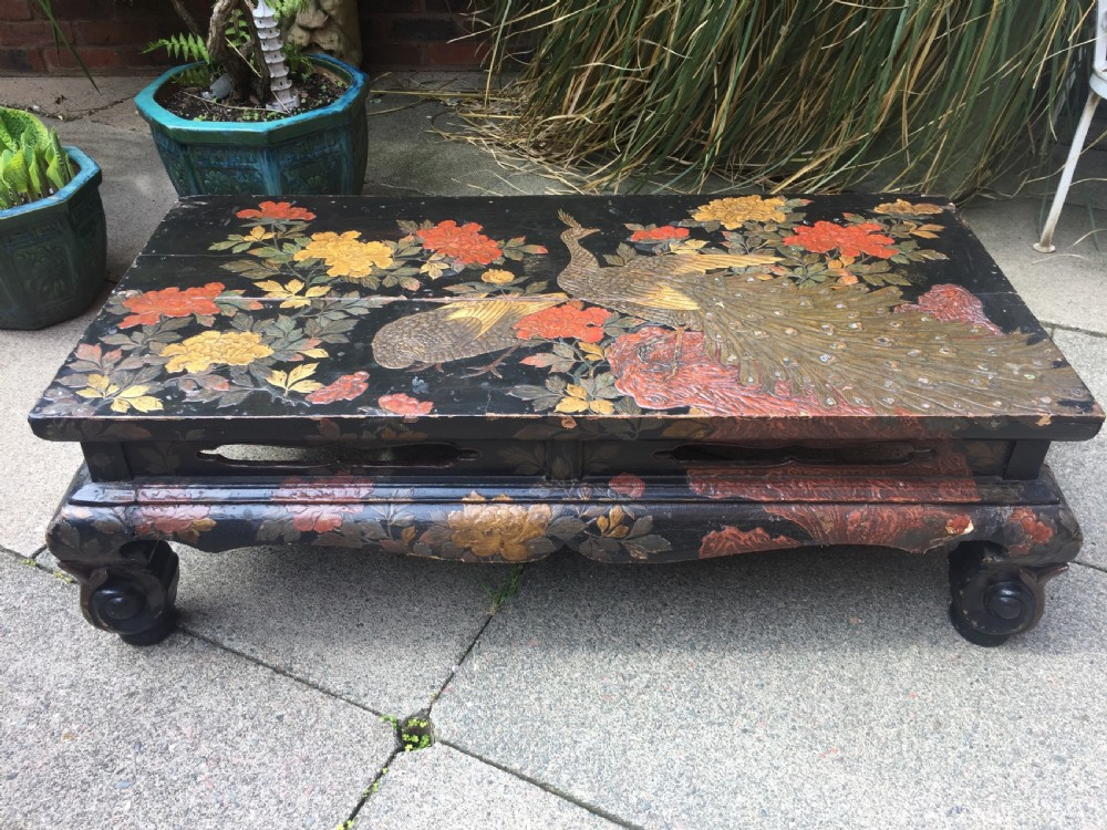 early c20th japanese carved lacquer taisho period low reception or coffee table