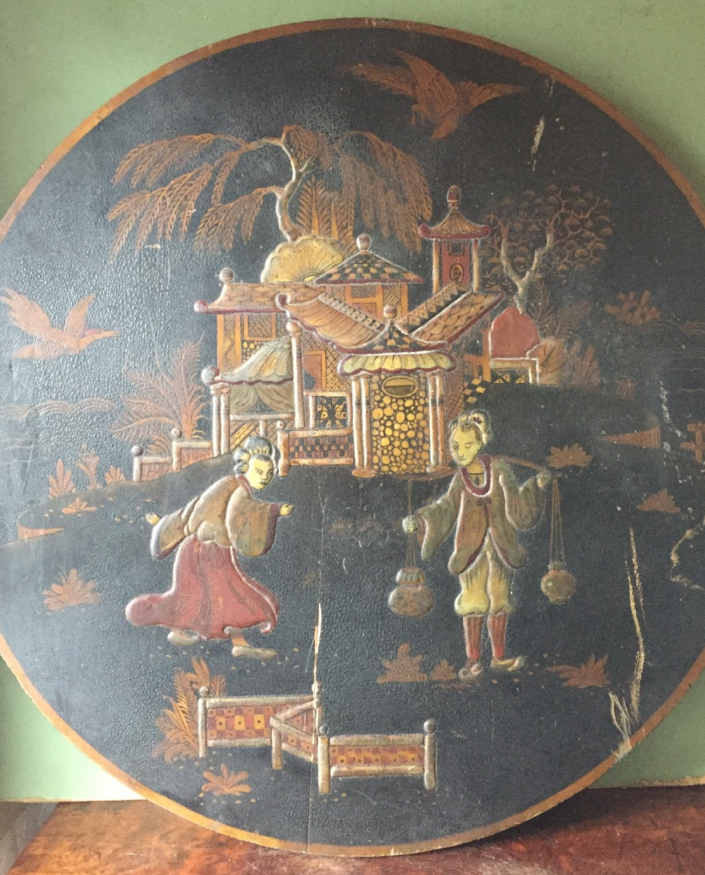 mid c19th english chinoiserie lacquer table top