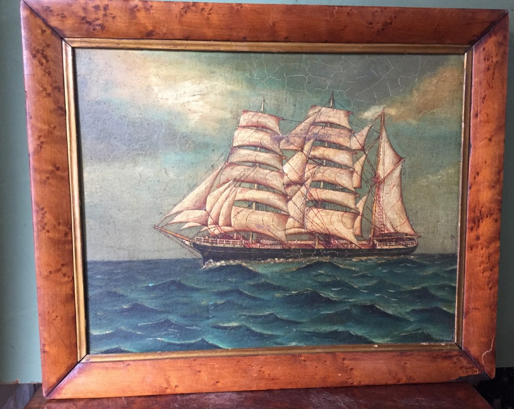 charming mid c19th oilonboard painting of a 3masted ship possibly a tea clipper in full sail upon a choppy sea