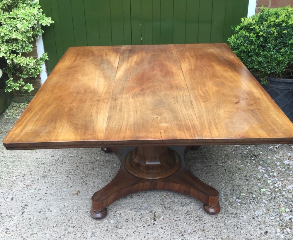 early c19th george iv period faded mahogany rectangular breakfast or centre table of unusual proportions and design