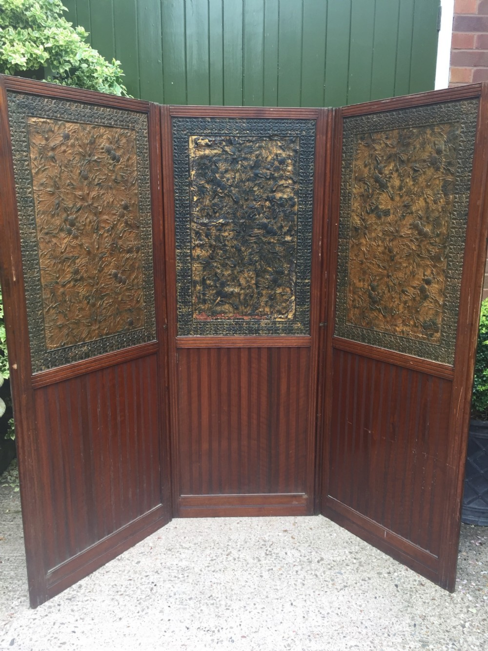 late c19th mahogany and tooled leather 3fold roomdivider or screen