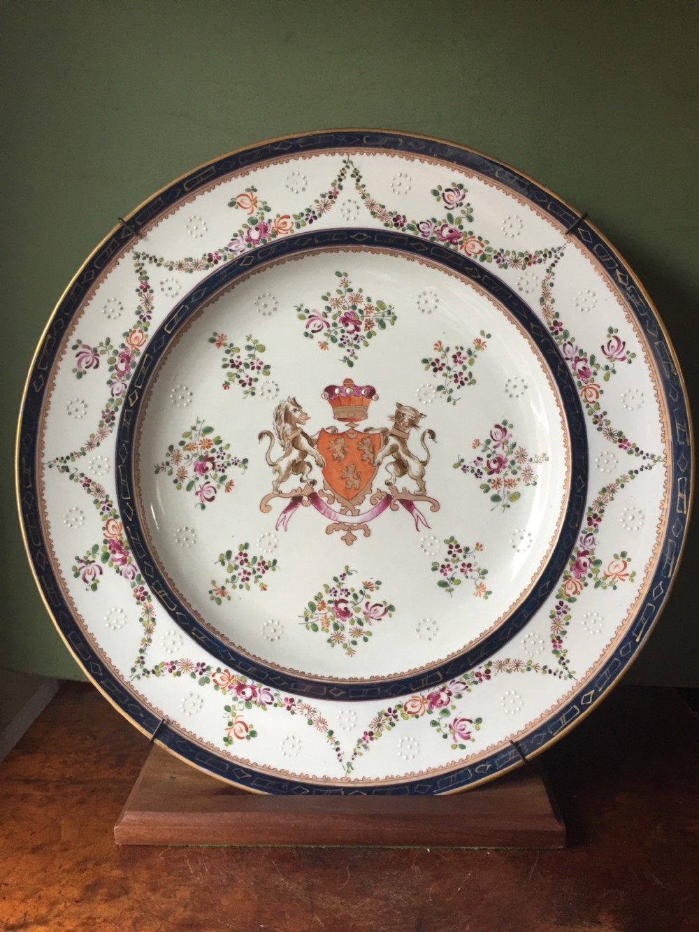 large mid c19th armorial porcelain dish by samson of paris in the c18th chinese export style