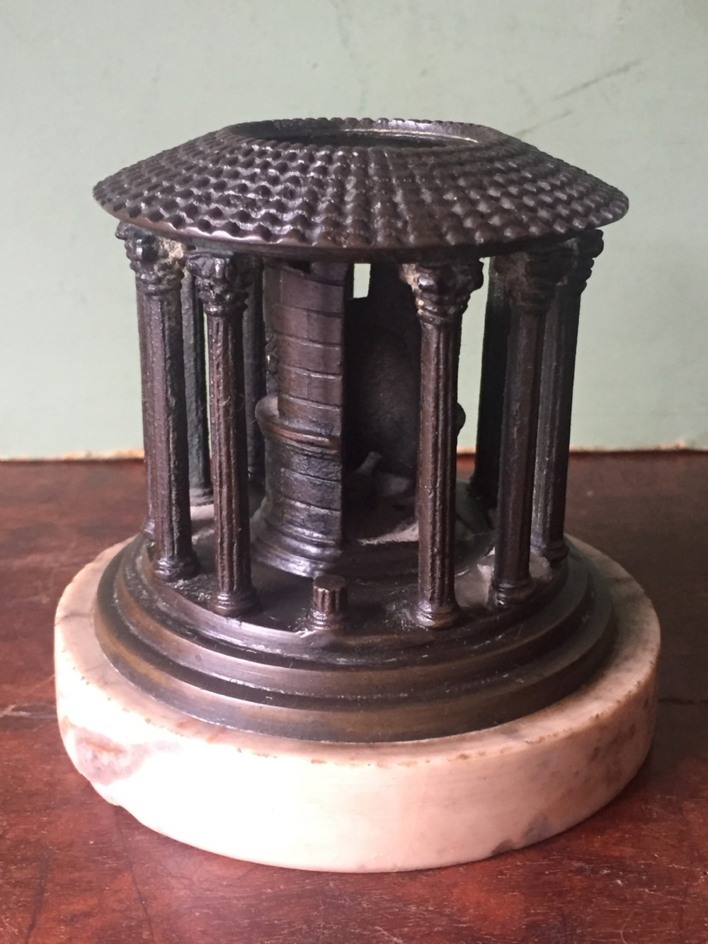 c19th italian bronze 'grand tour' souvenir model reduction of the temple of hercules rome mounted on a pale siena marble base
