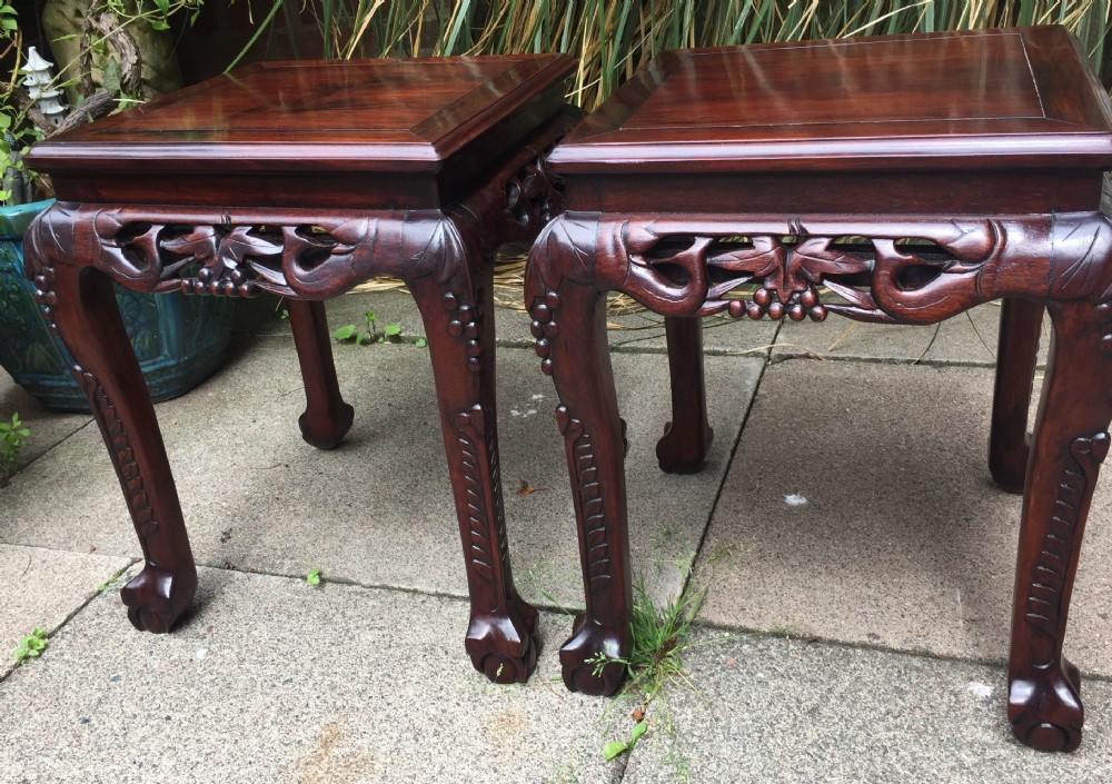 pair of late c19thearly c20th chinese carved rosewood or hardwood lamp or end tables