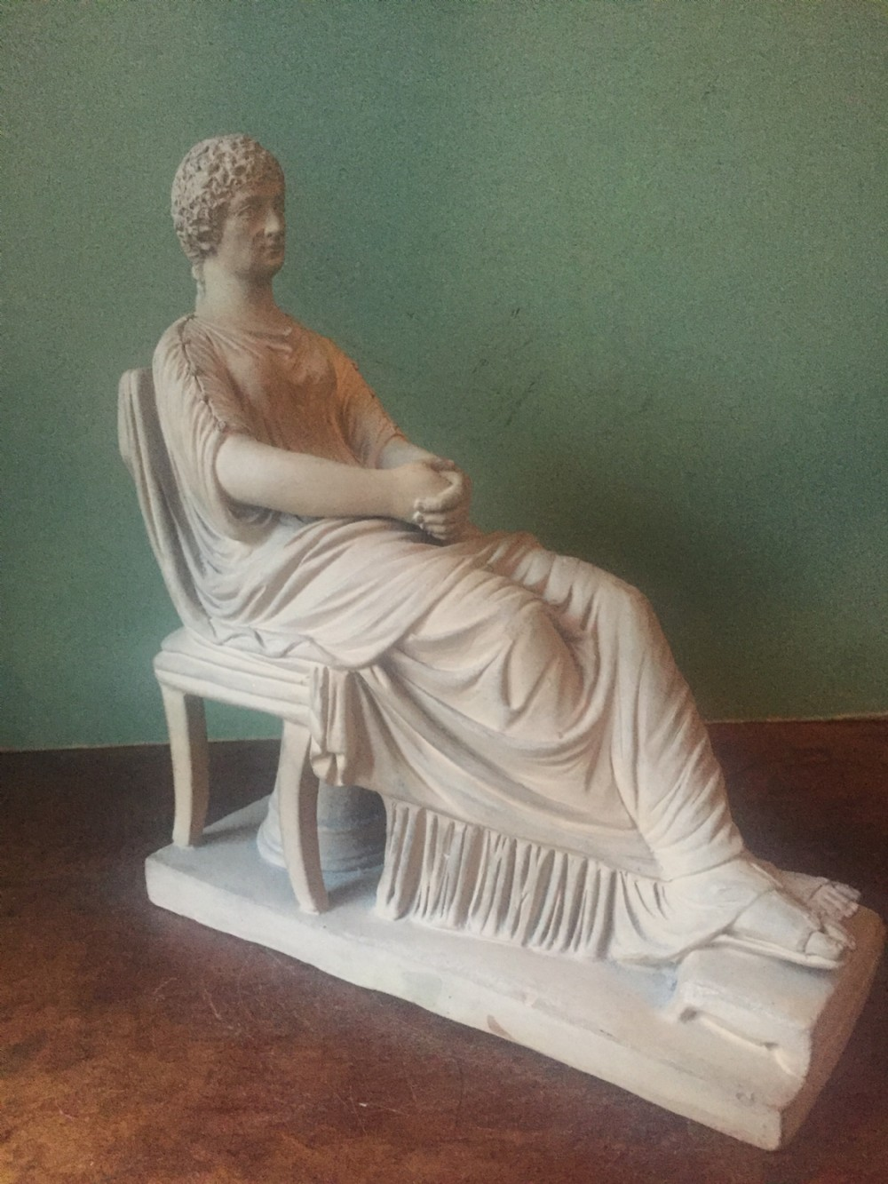 finely sculpted and modelled late c19th italian 'grand tour' souvenir terracotta figurine of livia drusilla by sommer