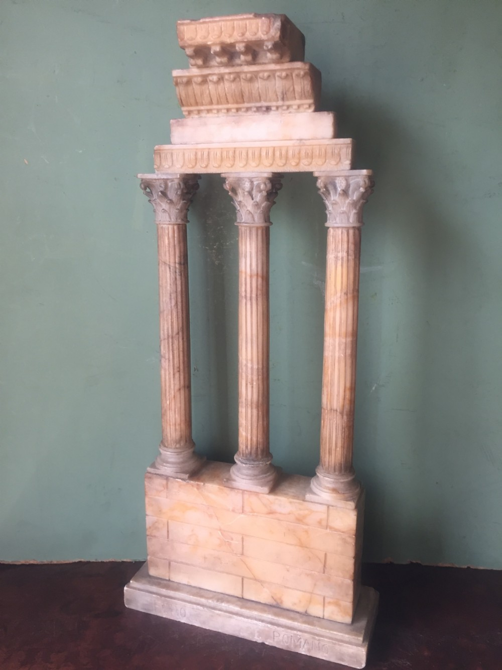 finely carved italian late c19th alabaster 'grand tour' souvenir model of the temple of castor pollux