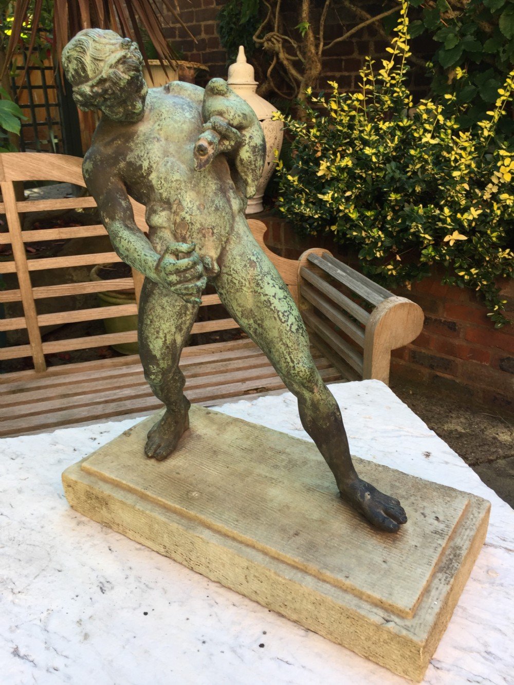 large late c19th italian 'grand tour' souvenir bronze figure after the antique of the drunken faun of pompeii
