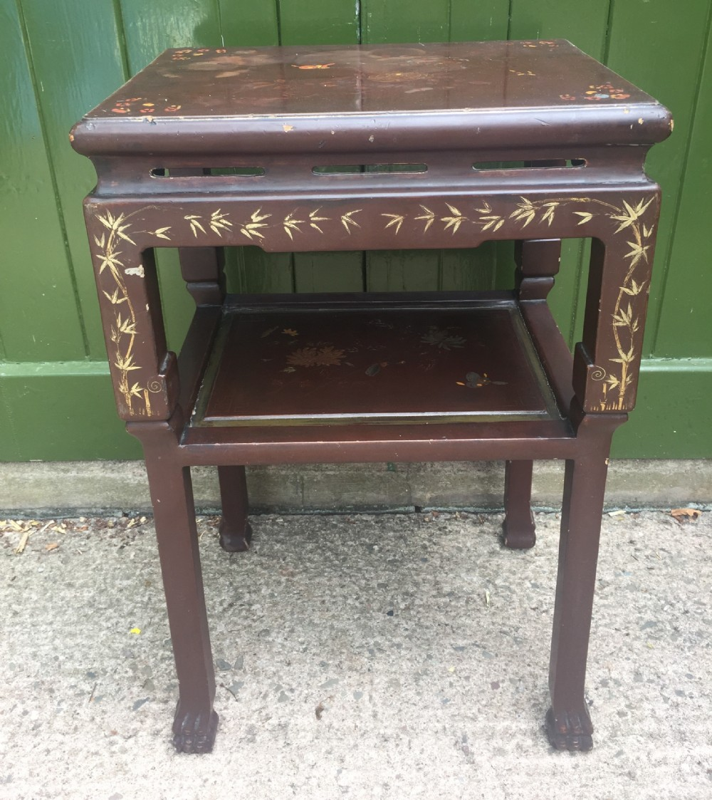 late c19th early c20th chinese 2tier maroon lacquer decorated oblong lamp table