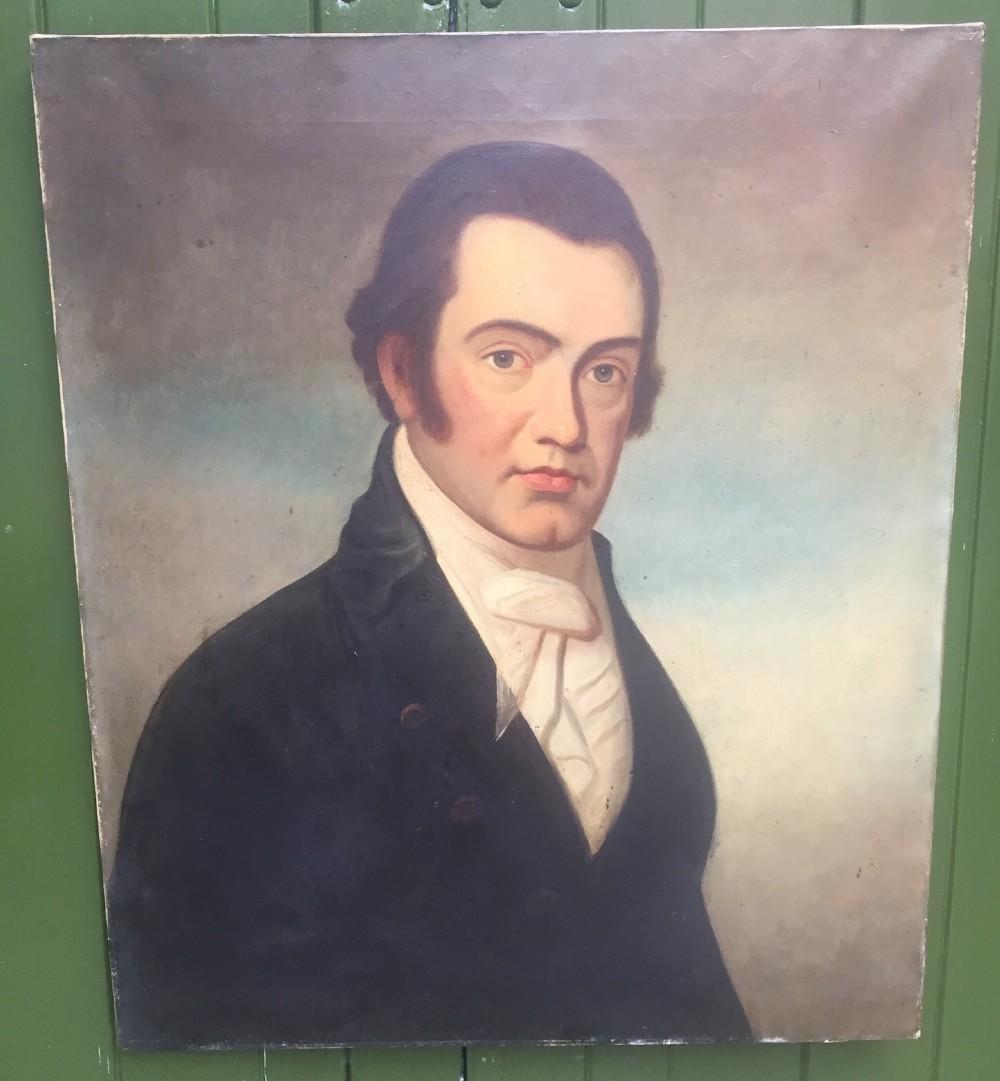 mid c19th oiloncanvas portrait painting of a gentleman or 'dandy'