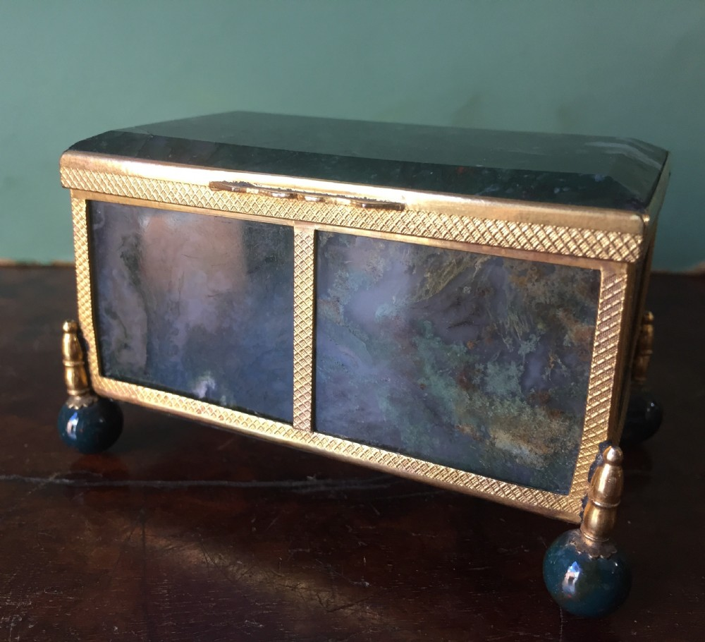 late c19thearly c20th austrohungarian giltbrass framed green mossagate casket