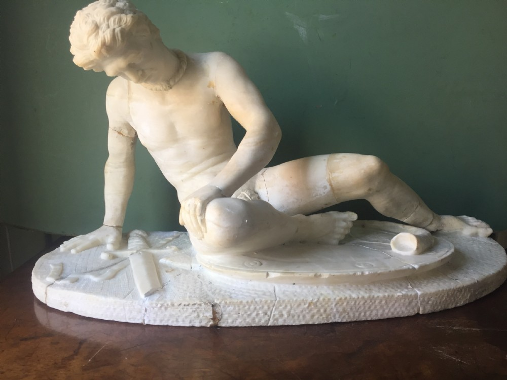 late c19th italian carved alabaster grand tour souvenir sculpture after the antique the dying gaul in as found countryhouse condition
