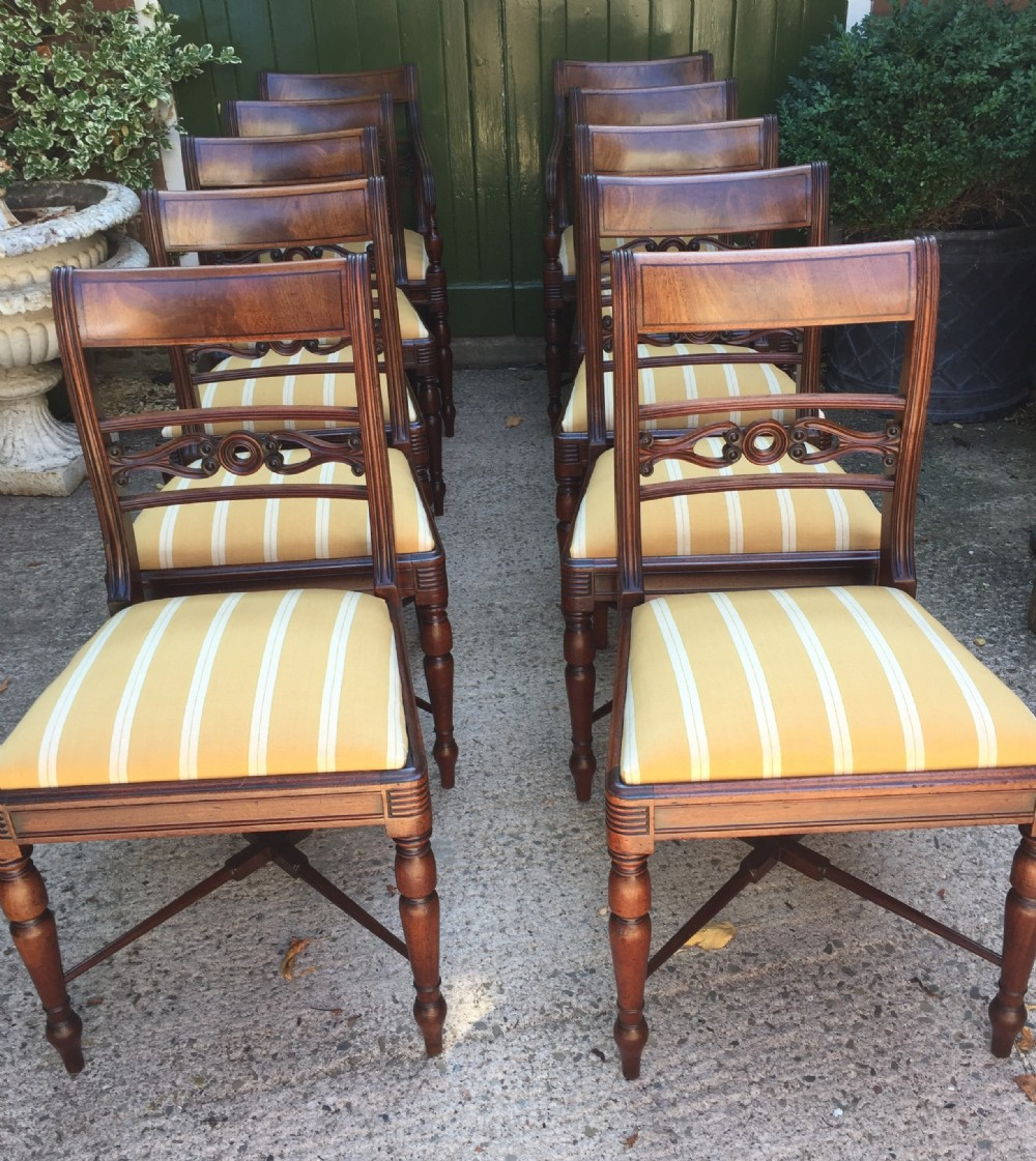 fine set of 10 early c19th scottish regency period mahogany dining chairs