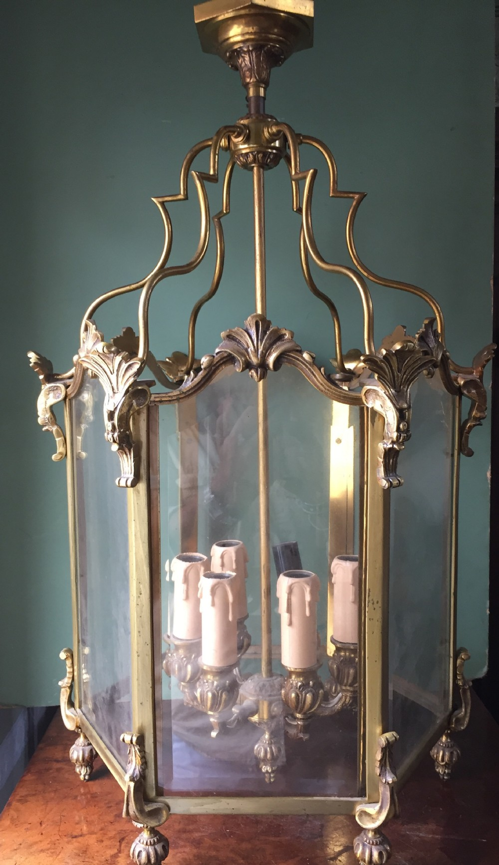 late c19th french gilded brass rococo style hexagonal hanging hall lantern of c18th design