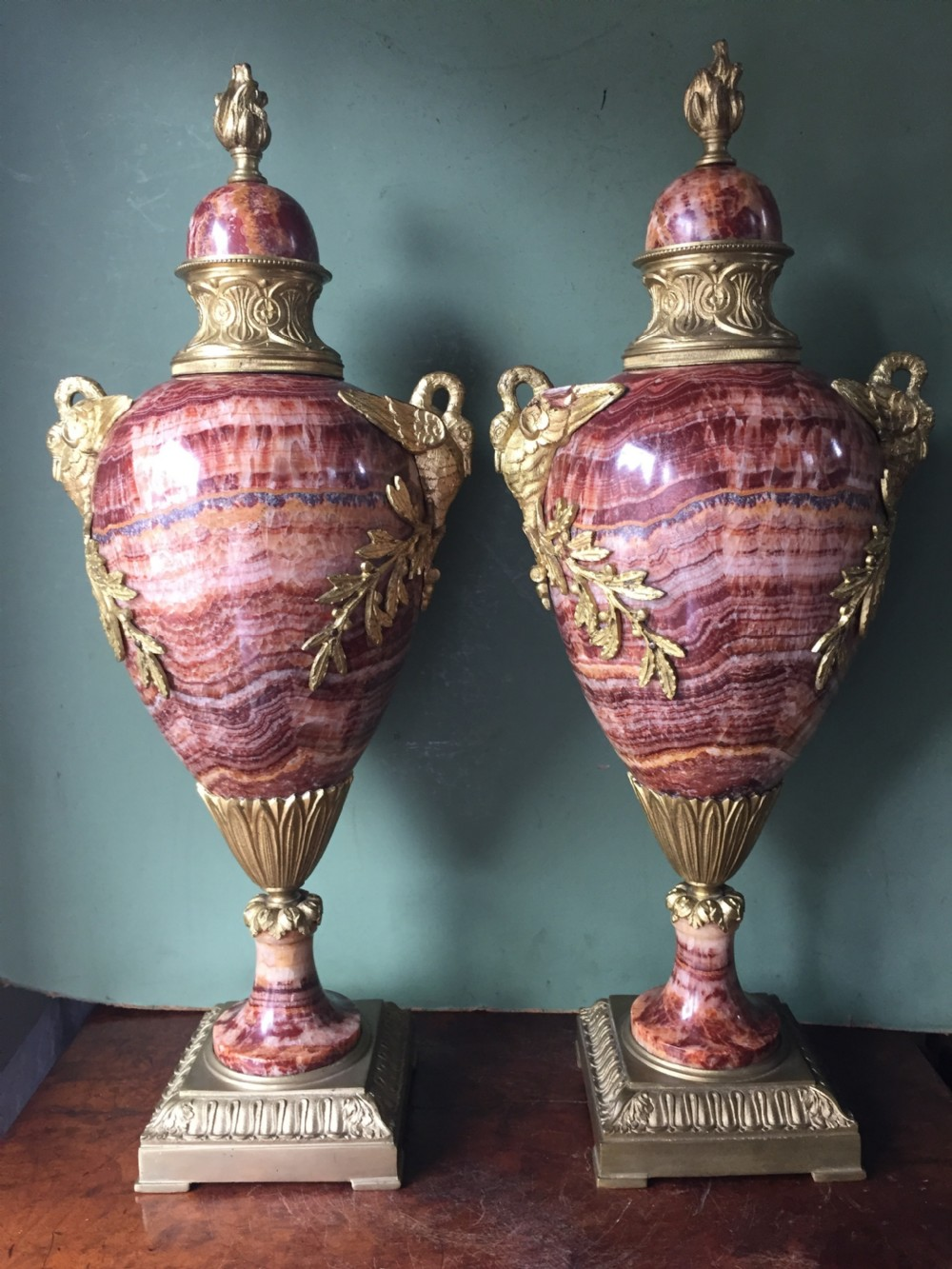 pair of late c19thearly c20th french ormolumounted 'alabastro fiorito' marble vases