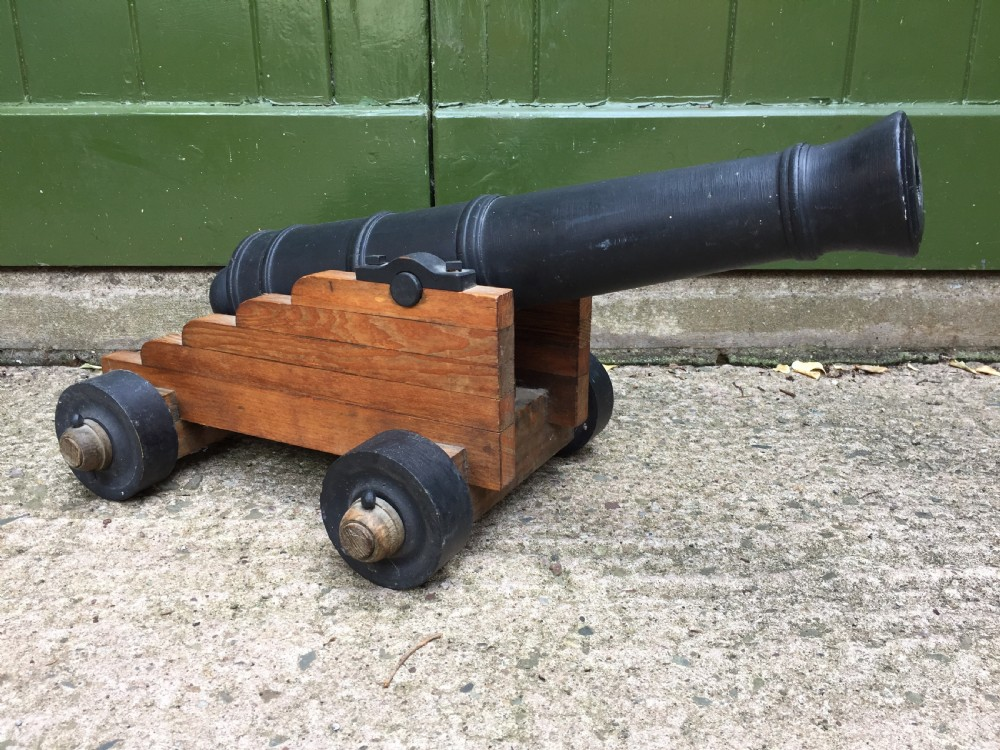 early c20th wooden scale model of an c18th naval cannon
