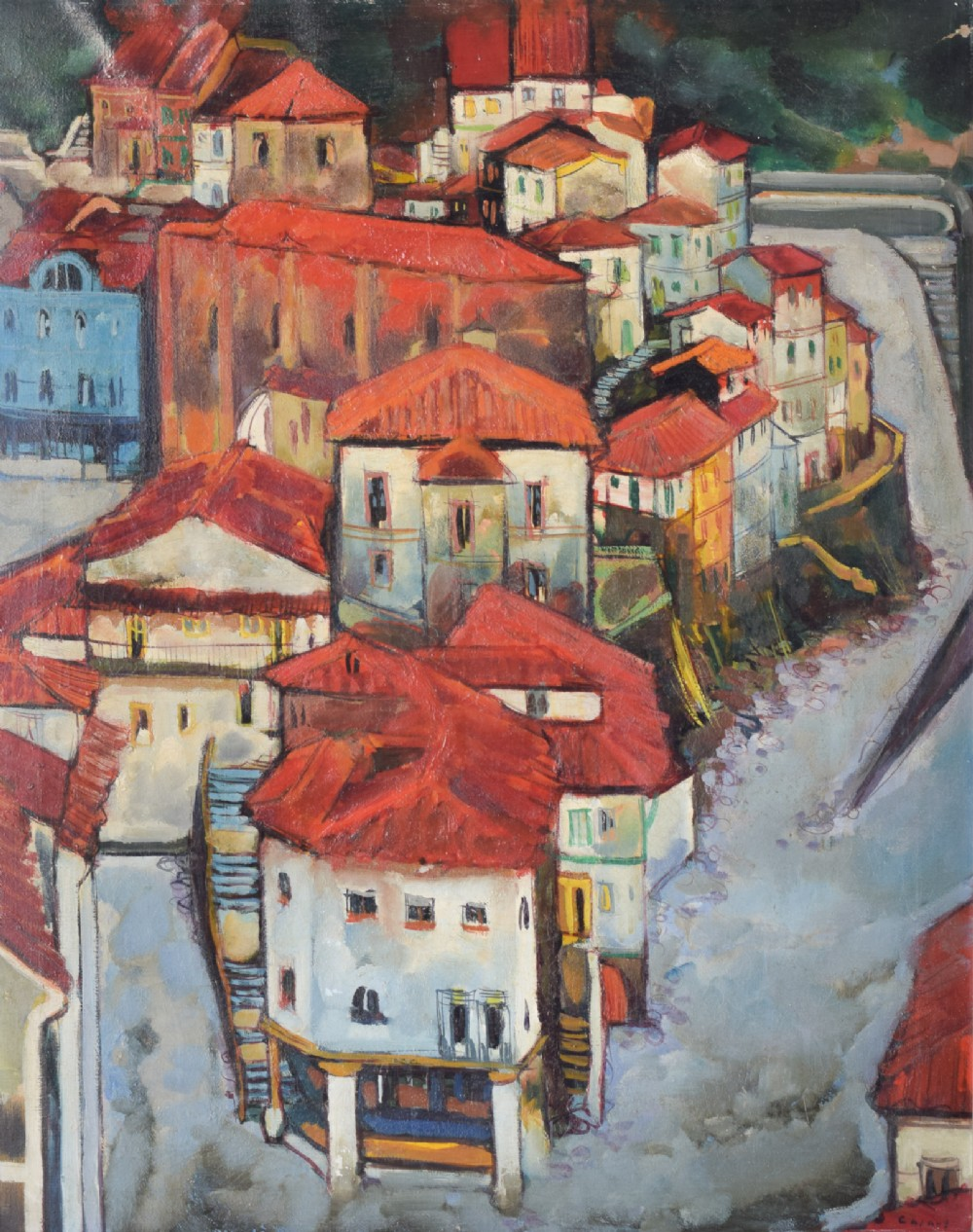 postimpressionist style painting of red roofs in cudillero spain