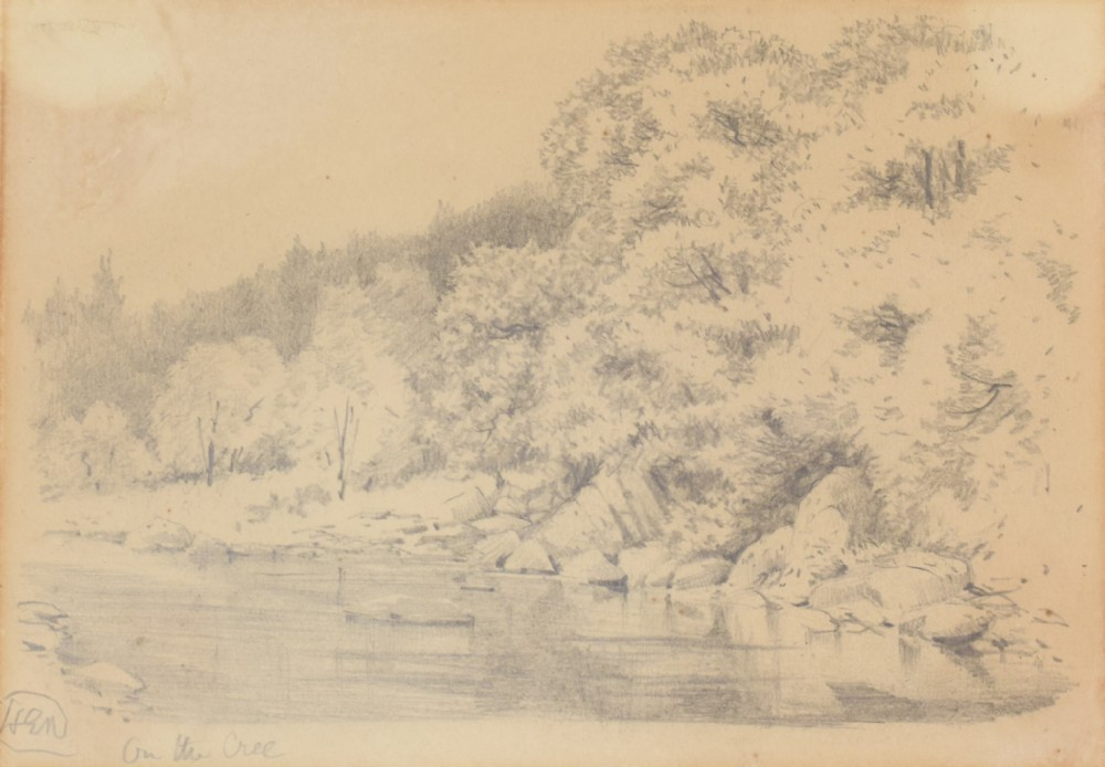 'on the cree' landscape drawing of a river american artist