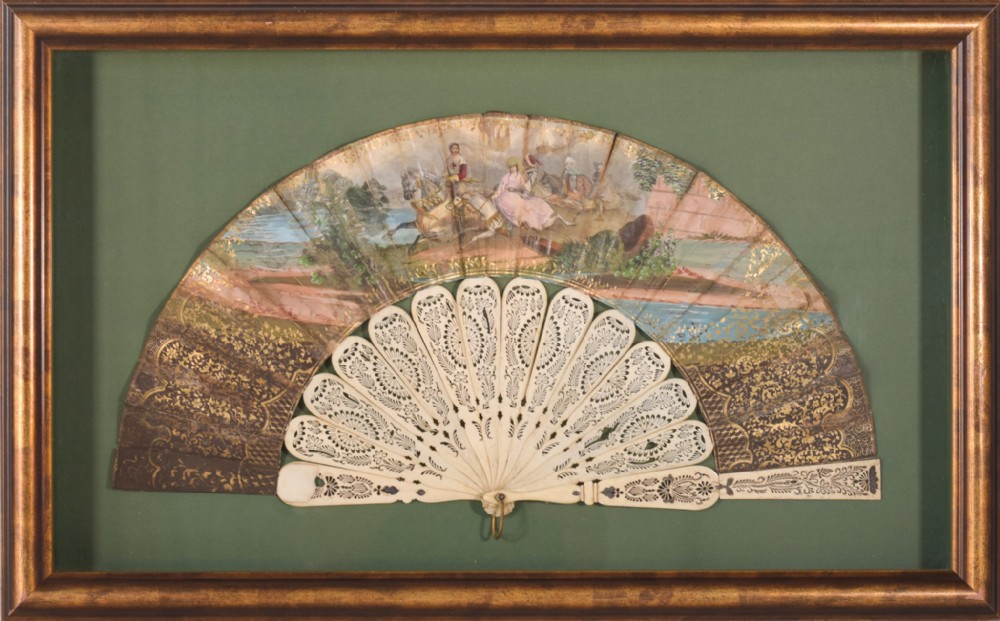 framed fan with high quality hand painted medieval scene