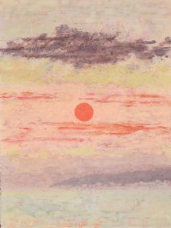 Red Sky Original Painting Miniature clearanced priced