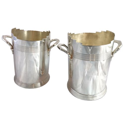 pair of art deco silver plated wine coolers by keith murray for mappin webb