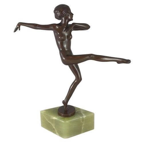 art deco bronze dancer on onyx base by josef lorenzl austria c1930