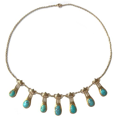art nouveau 15ct gold and turquoise necklace by murrle bennett