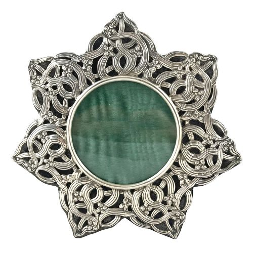 art nouveau star shaped pierced silver photo frame by william hutton sons