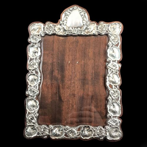 large art nouveau silver mahogany backed photo frame with water lilies by james deakin