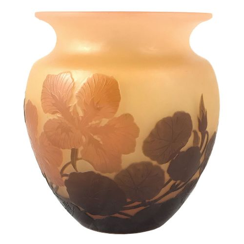 art nouveau double overlay floral cameo glass vase by emile galle