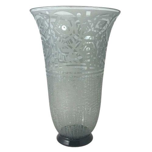 art deco large geometric acid etched grey glass vase by daum