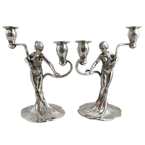 pair of art nouveau silvered pewter figural candelabra with maidens by wmf