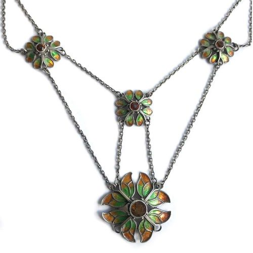 arts crafts silver enamel and citrine festoon necklace made for liberty co