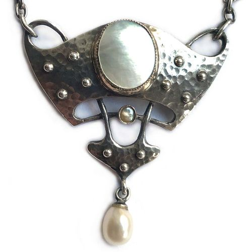 art nouveau silver gold and pearl pendant by murrle bennett