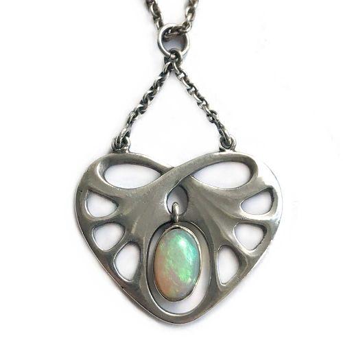art nouveau jugendstil silver and opal pendant