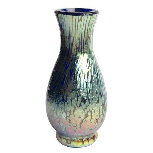 art nouveau miniature cobalt papillon iridescent glass vase by loetz