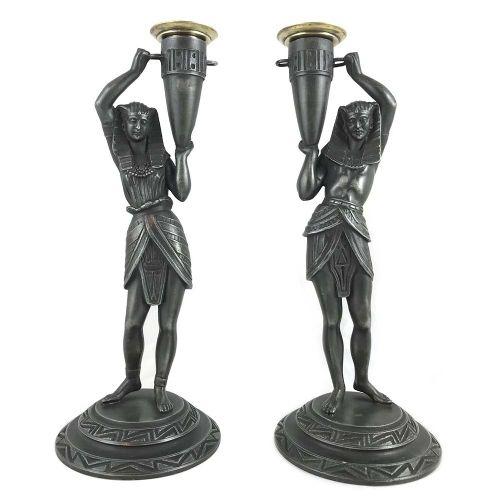 pair of art deco egyptian revival spelter candlesticks