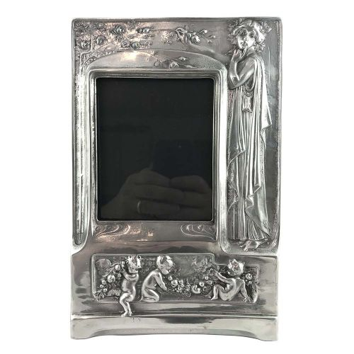 art nouveau pewter photo frame with a mucha style maiden and putti