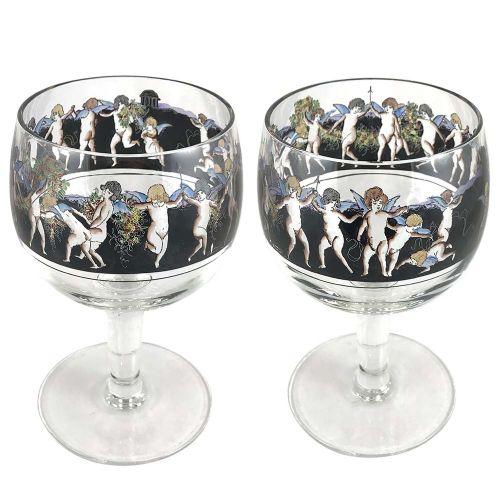 pair of art deco hand enamelled glass vases with putti by vetri della arte vedar