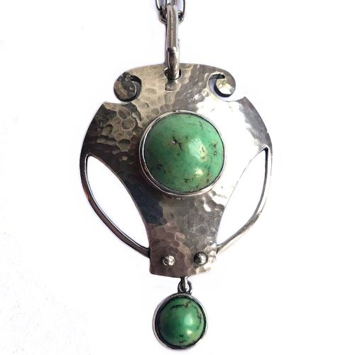 art nouveau silver and turquoise pendant by murrle bennett