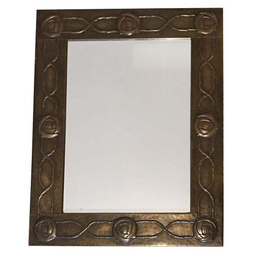 arts crafts glasgow school beaten copper mirror with glasgow roses